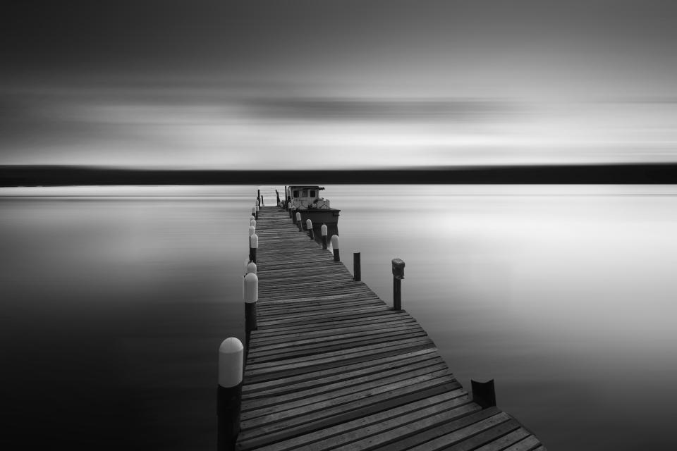 platform sea ocean black and white bridge sky simple peaceful wooden