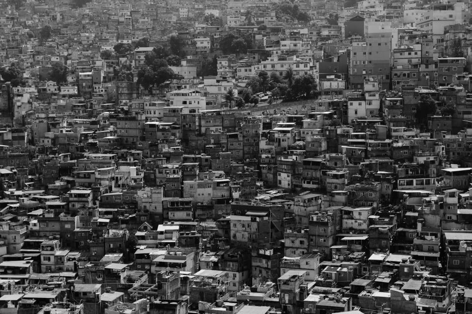buildings city town houses architecture hill black and white