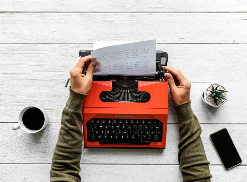 author career coffee creative cup document drink editorial enjoying equipment flat lay flatlay freelancer hand hot drink journalist keyboard machine mug old fashion paper person publish rea