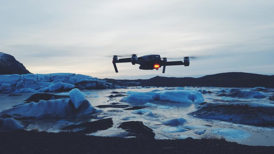drone camera ice iceberg snow cold weather technology fly