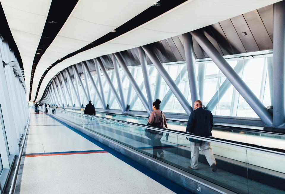 airport travel trip transportation people walking architecture