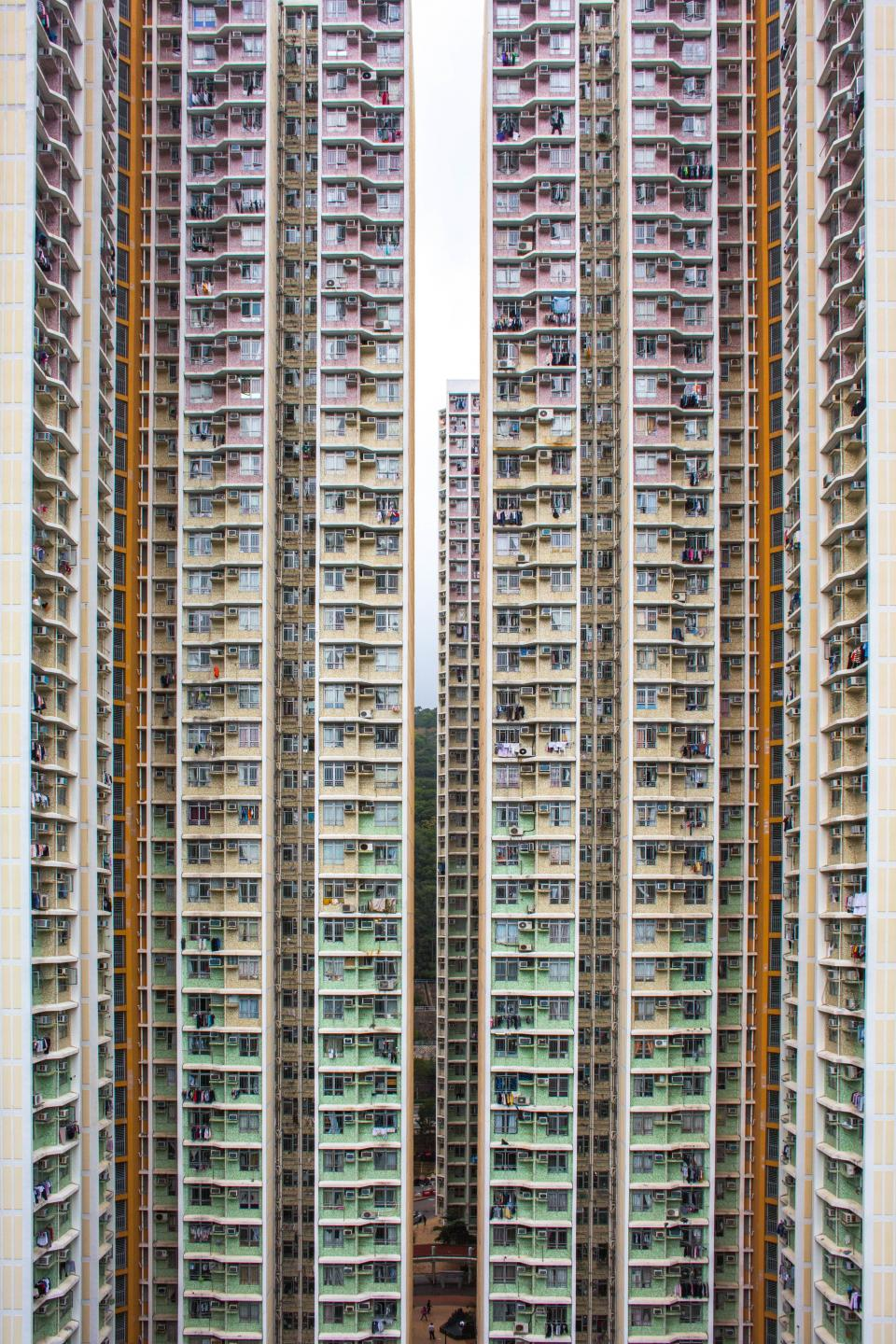 architecture buildings city residential condominium tenement high rise patterns perspective