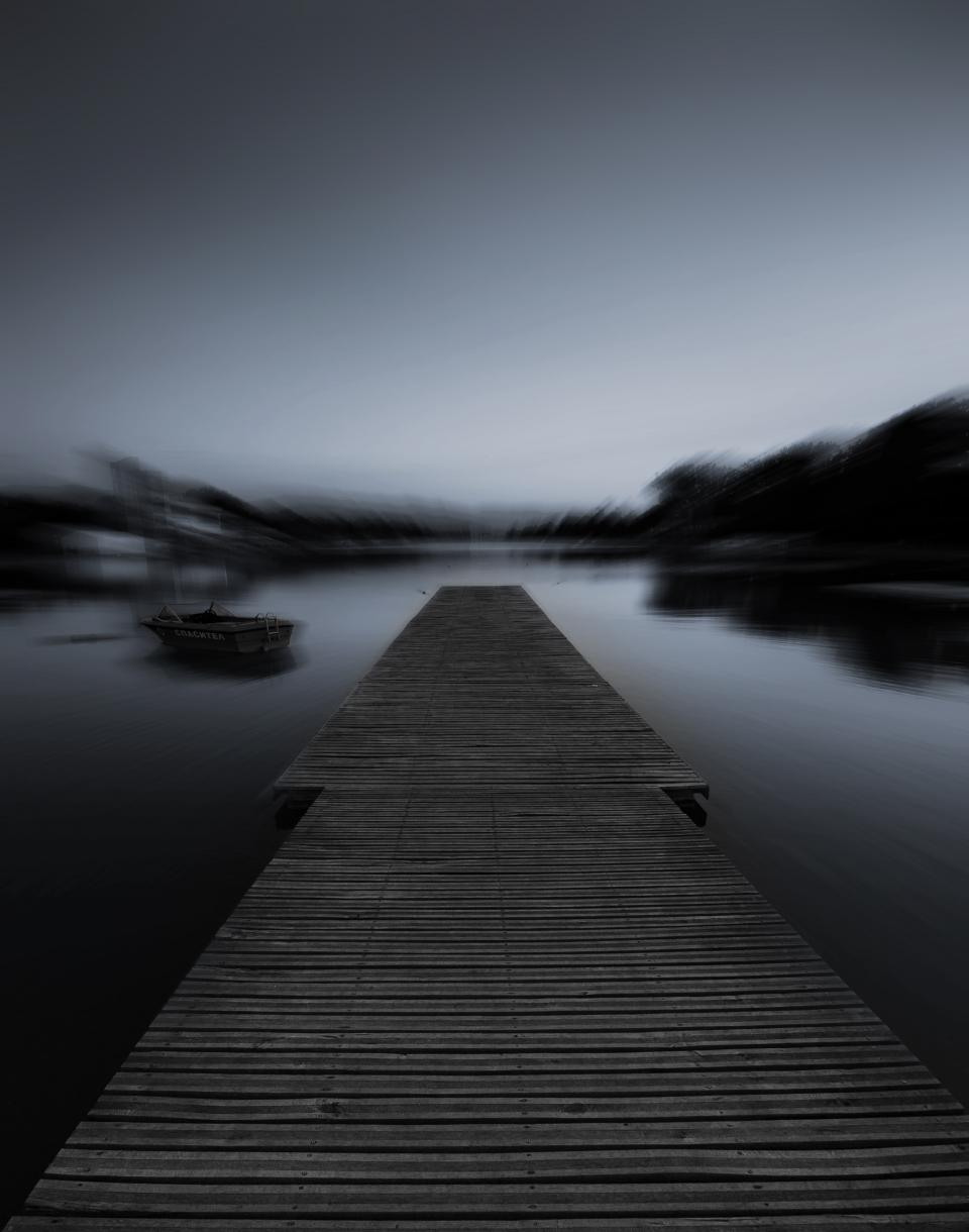 black and white bridge pathway blur sky horizon boat