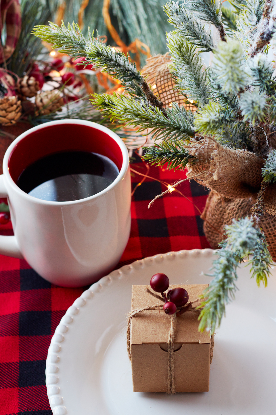 christmas gift box coffee festive plate holiday plaid pine branch xmas seasonal food cup mug beverage
