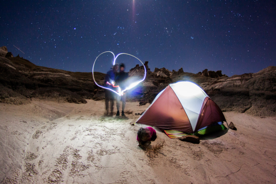 light love camping tent man woman desert night lights stars sky loveheart romantic