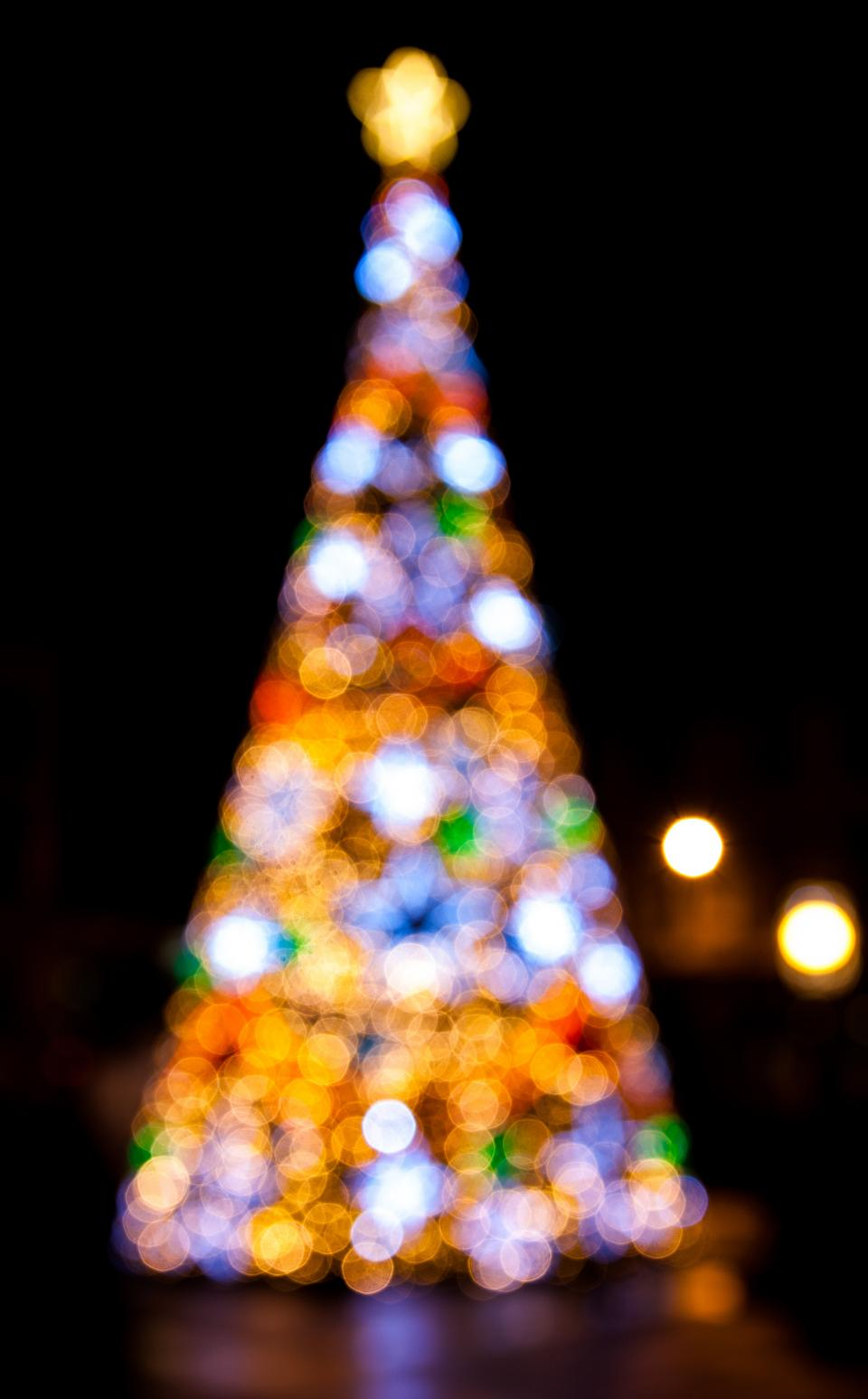 christmas tree lights dark night bokeh blur