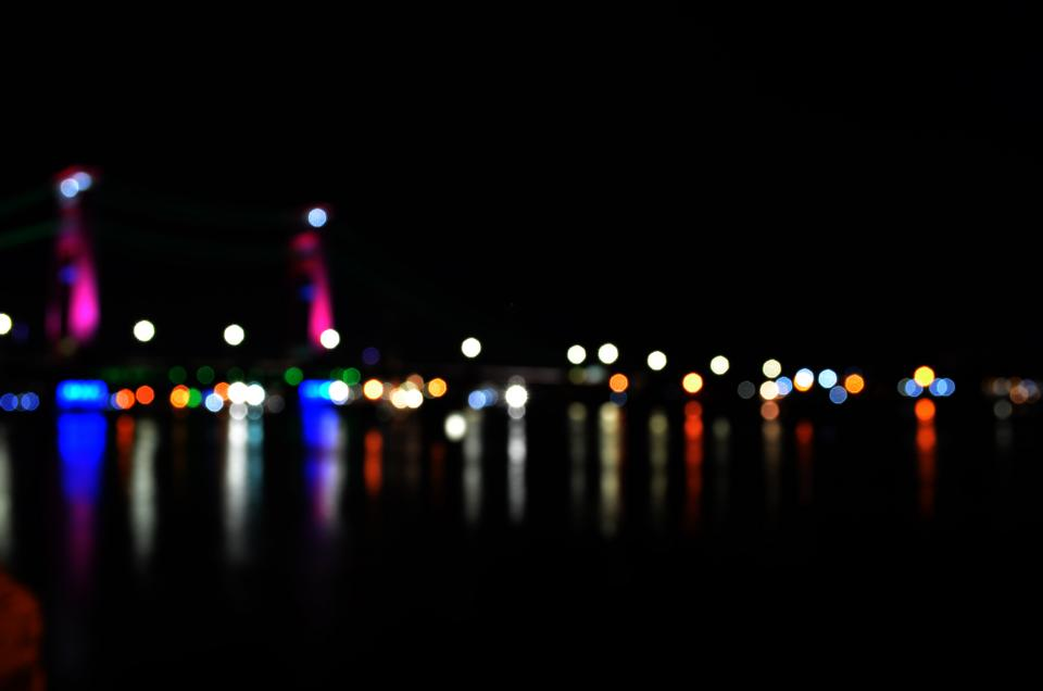 dark night lights bokeh travel adventure urban city