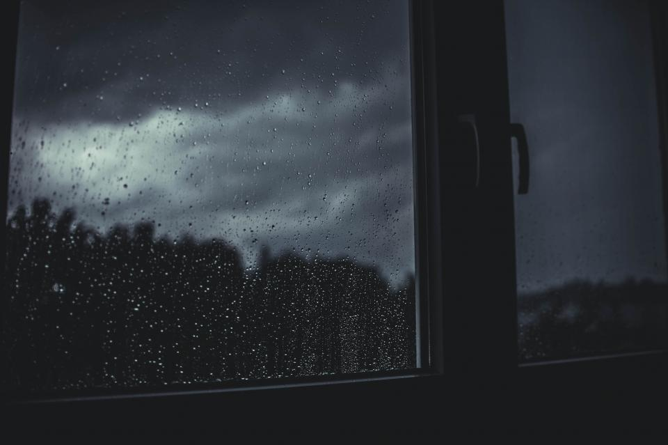 rain water window dark night room house sleep