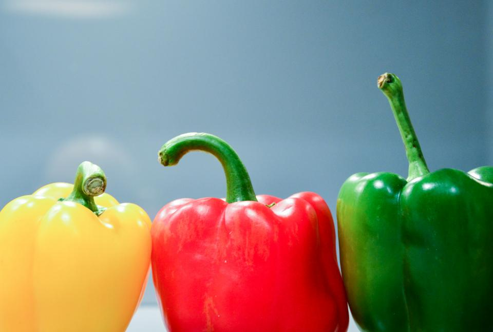peppers vegetables food healthy yellow red green colors colours