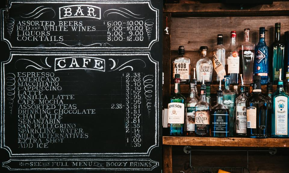 chalkboard menu alcoholic drinks beverage bar cafe
