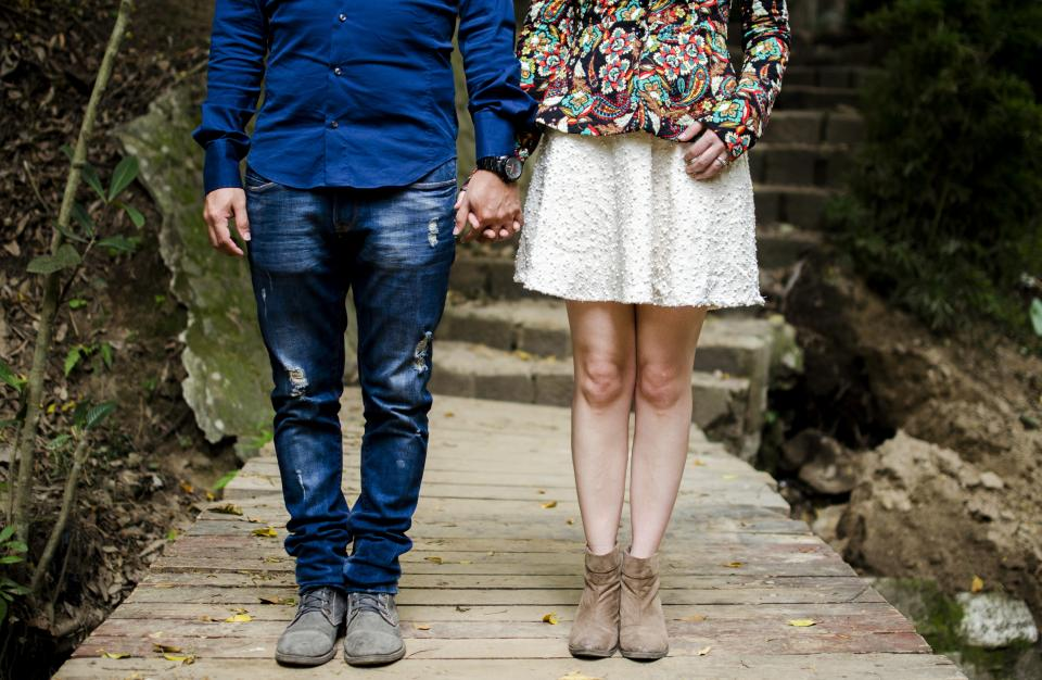 men women people couple lovers hold hands fashion style walkway wood panels concrete stairs dirt soil pose family beauty