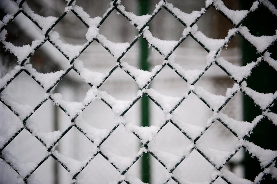 fence steel snow winter ice cold white glass screen