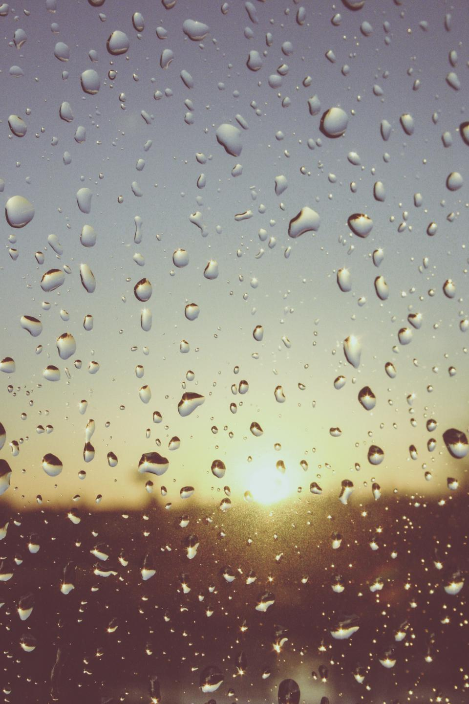still items things window glass moist water droplets condense sunrise sunset view