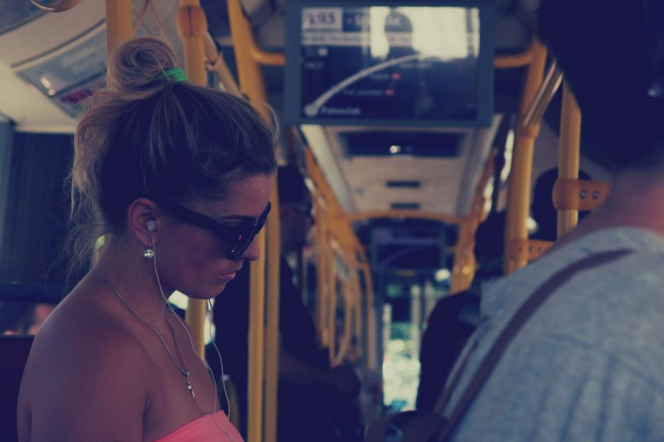girl woman bus transportation people sunglasses earbuds