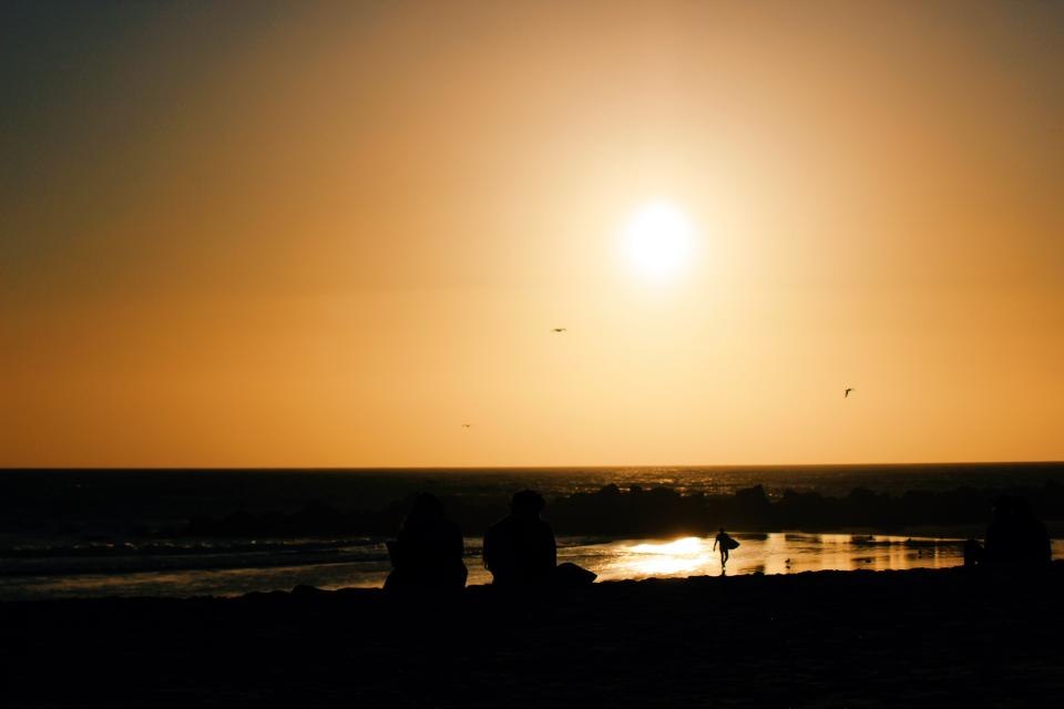 sunset dusk beach horizon summer sand silhouette people sky