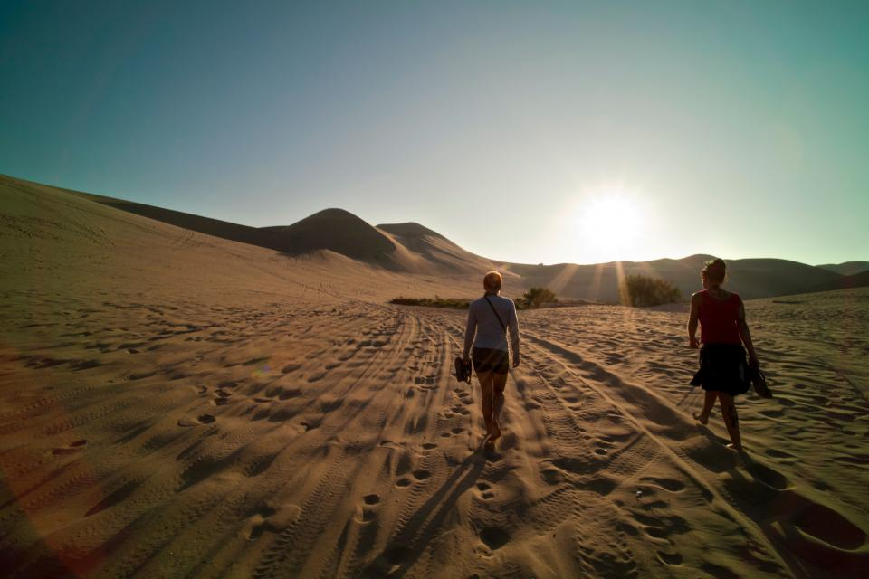 desert people footsteps plants adventure travel trip girls female women back sun rays feet summer landscape sand shoes