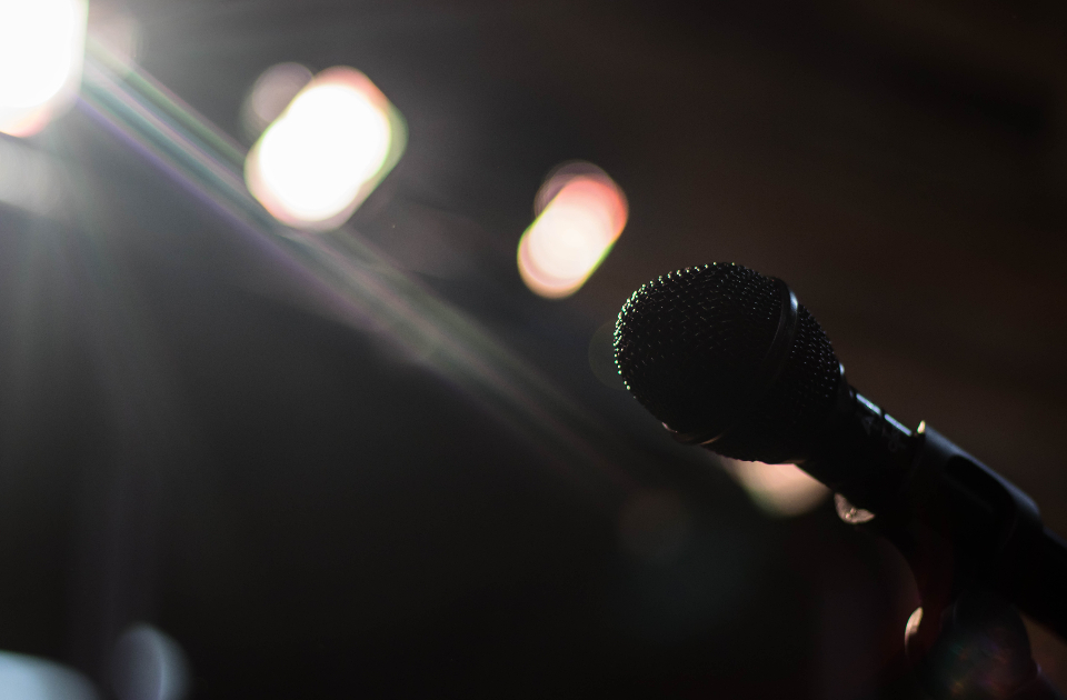 music microphone stage perfom singer bokeh lights
