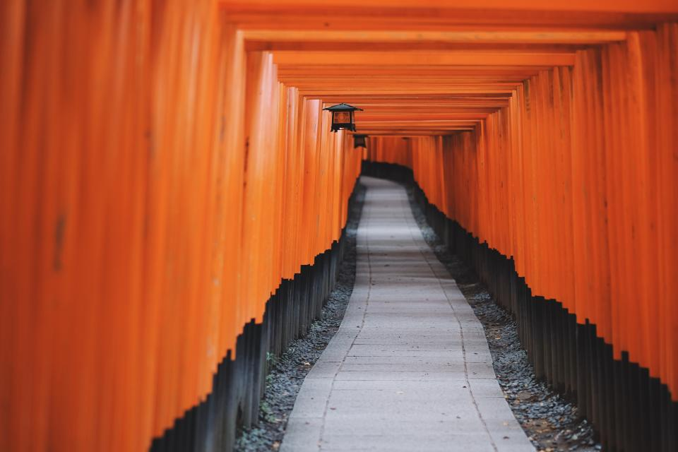 road path tunnel pattern gravel torii fushimi inari shrine kyoto japan travel lamps orange vermilion tourist spot