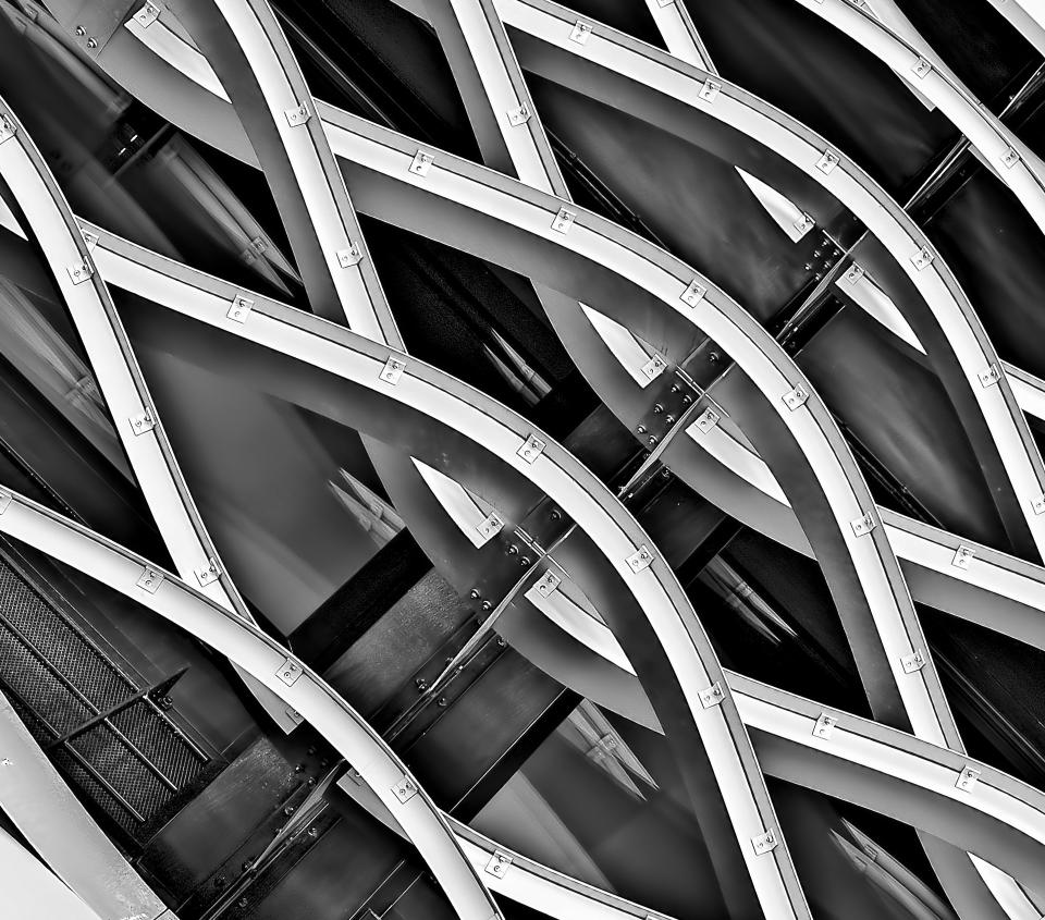 architecture building infrastructure steel metal black and white