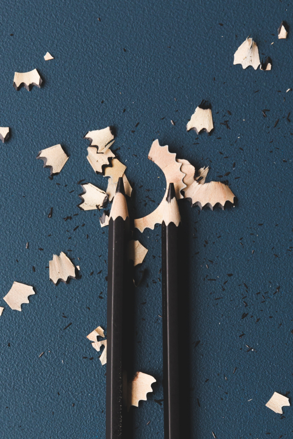 Shaved Pencils Art Background Blue drawing Flat Lay Pencil Shavings two dark creative design artist pieces