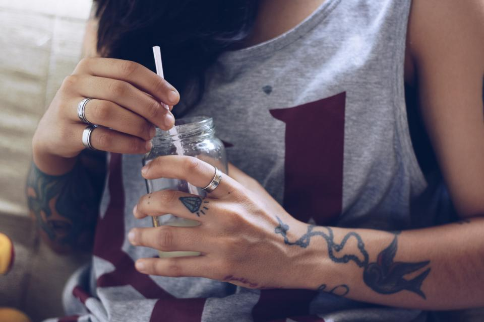 people woman girl female glass straw drink ring art arm tattoo