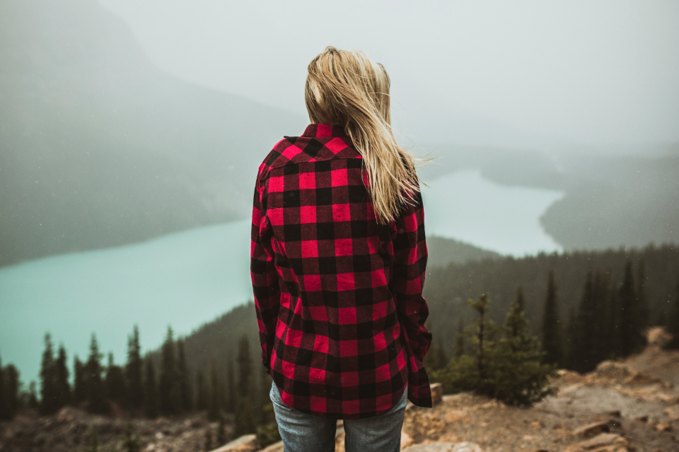girl blonde woman flannel plaid lake forest mountain trees water alberta banff fog nature earth wilderness hipster hiking trekking wilderness people