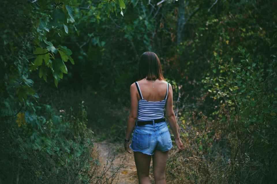 people woman wander travel adventure fashion outfit sexy nature woods forest mountain trek green leaves