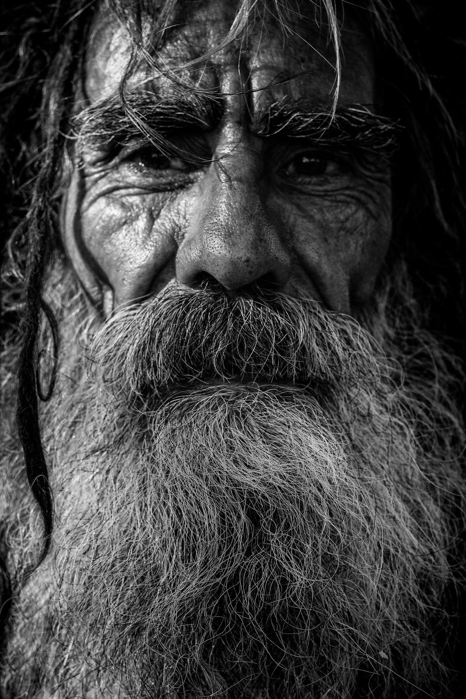 elderly old people person man male beard hair black and white