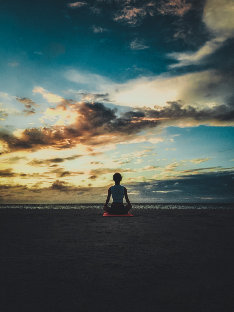 woman beach yoga sunset evening dusk summer clouds girl female people person relax alone still calm