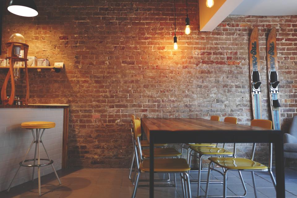 table chairs lamp light wall bar restaurant structure