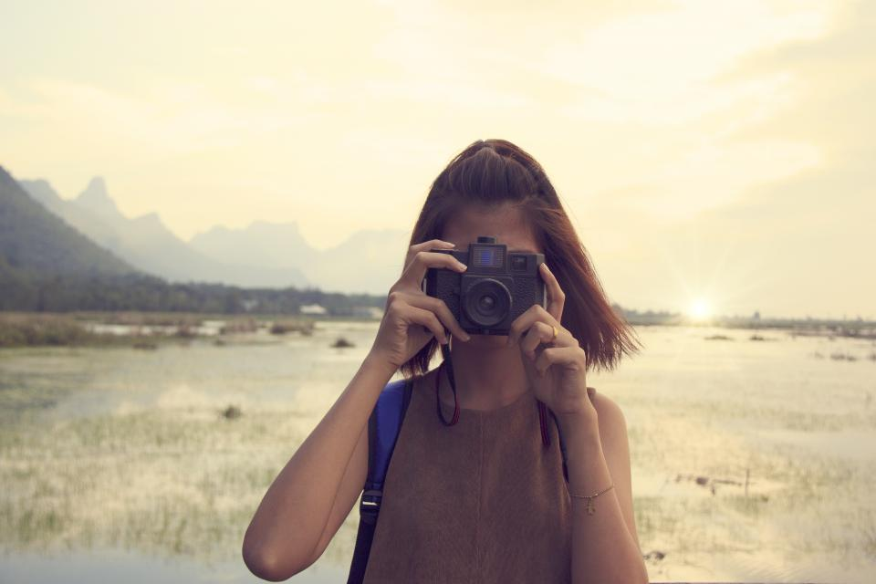 people girl lady female camera photographer travel outdoor rice field sunrise sky cloud