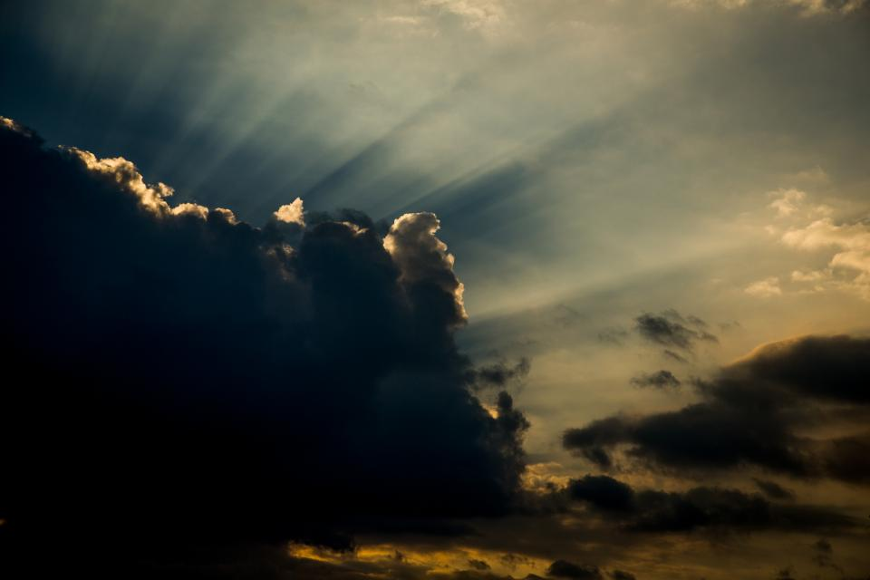 nature sky clouds sun rays sunlight silhouette shadows light