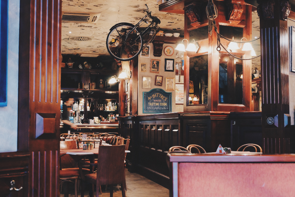 cafe restaurant design food coffee bar bike bicycle ceiling strange vintage retro decoration interior authentic eating