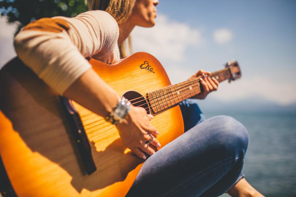 acoustic guitar musician music girl woman people sunshine sunny summer instrument