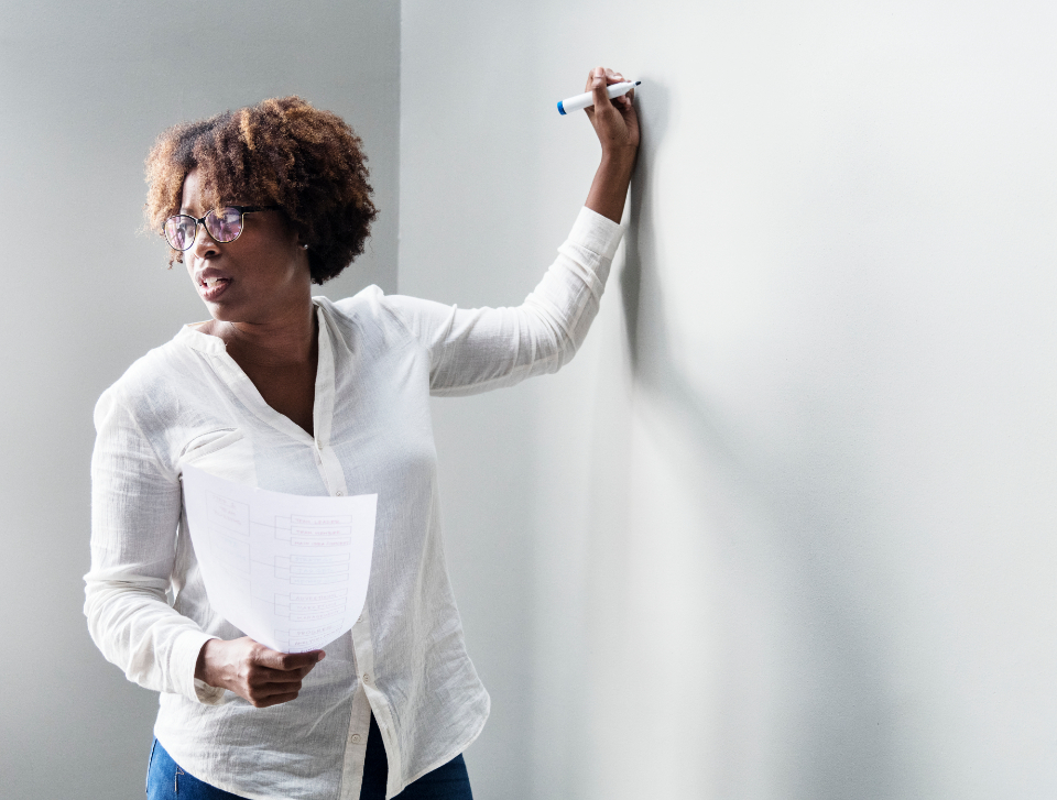 african american board brainstorming business businesswoman conference cooperation copy space design space discussion education empty executive glasses hand holding idea lesson marker meeting message pen person plan posing presentation