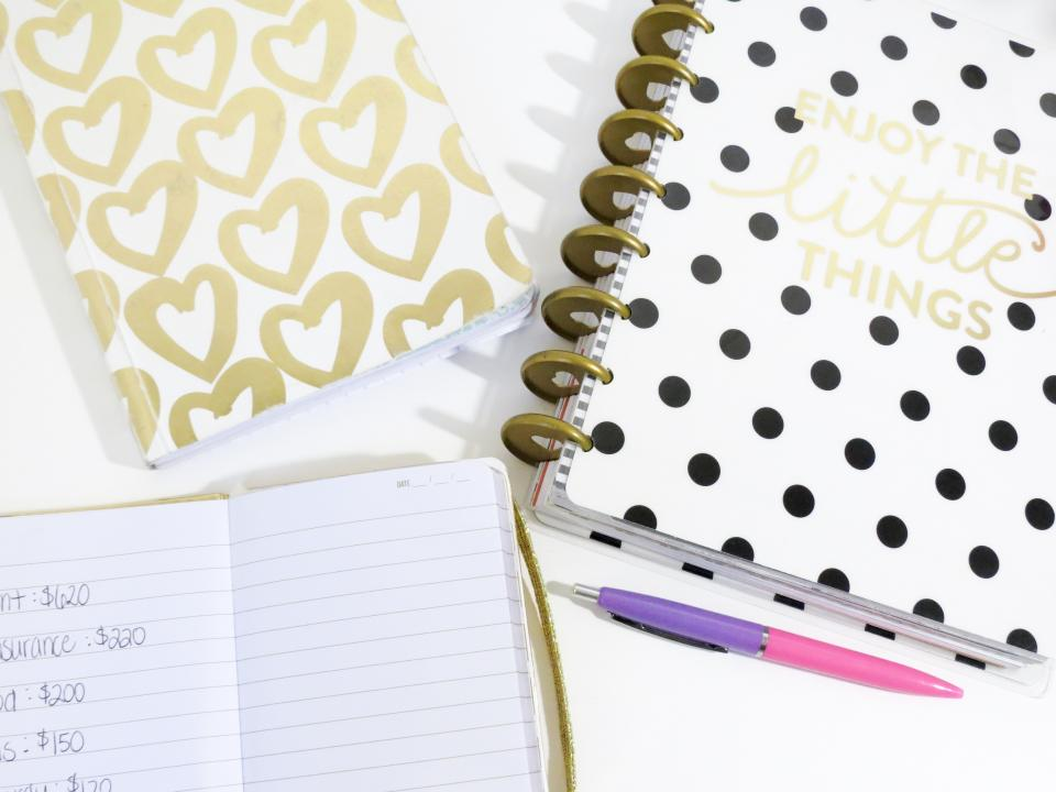 notebook notes pens table white heart letters