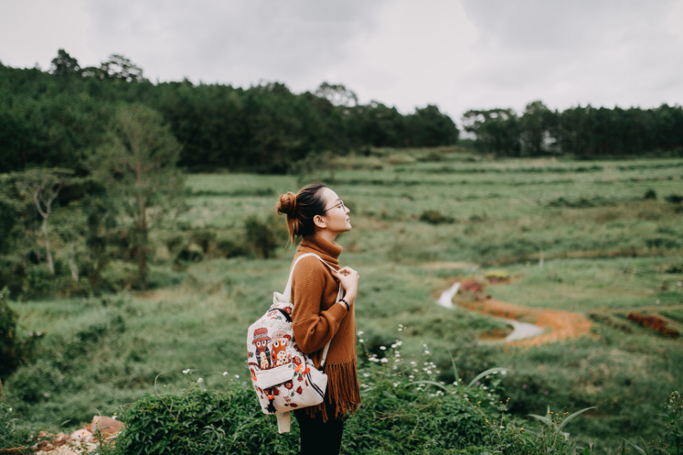 people girl trip dalat portrait woman journey outdoor camping nature forest tour young female tourism travel field backpack grass