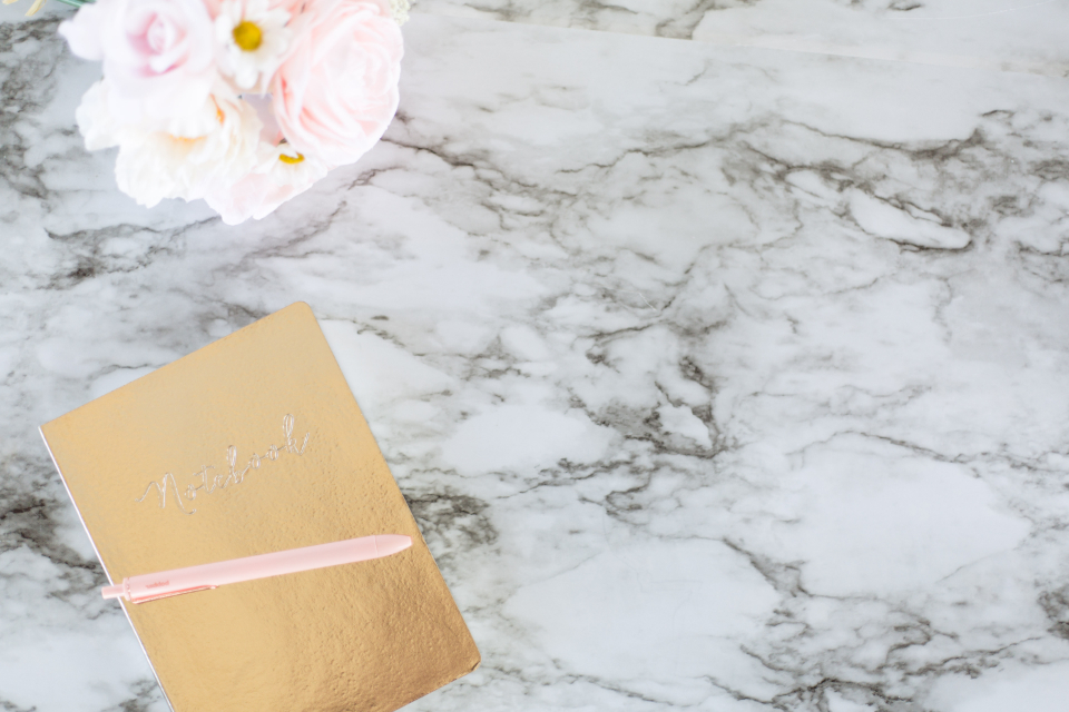 marble background notebook desk flowers flat lay top copyspace tabletop modern office desktop design creative business