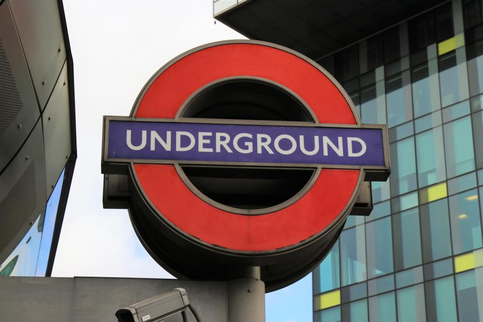 underground sign station london building city