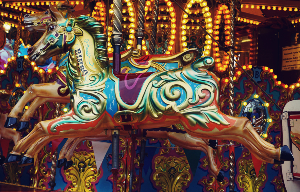carousel fair ride fun horse amusement carnival lights ornate entertainment
