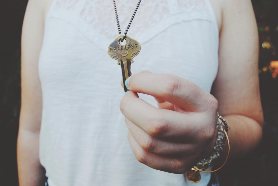 key necklace fearless hands fashion girl woman people