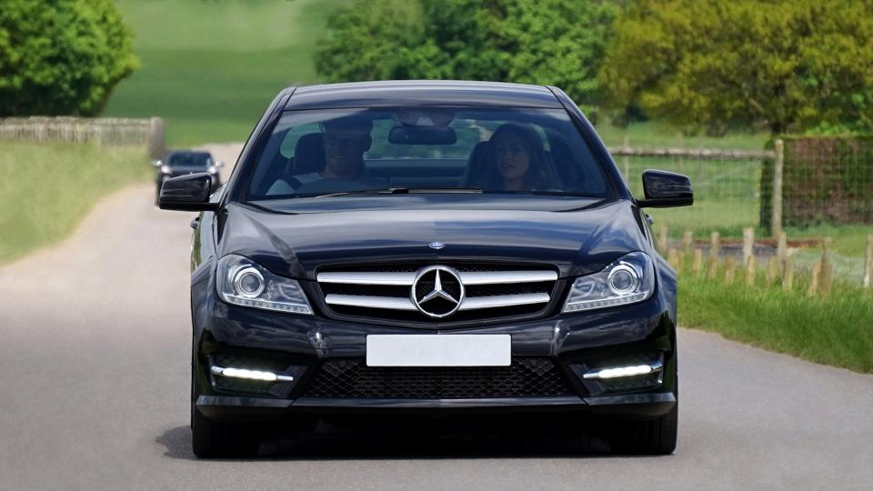 car vehicles luxury blue mercedes benz people couple travel