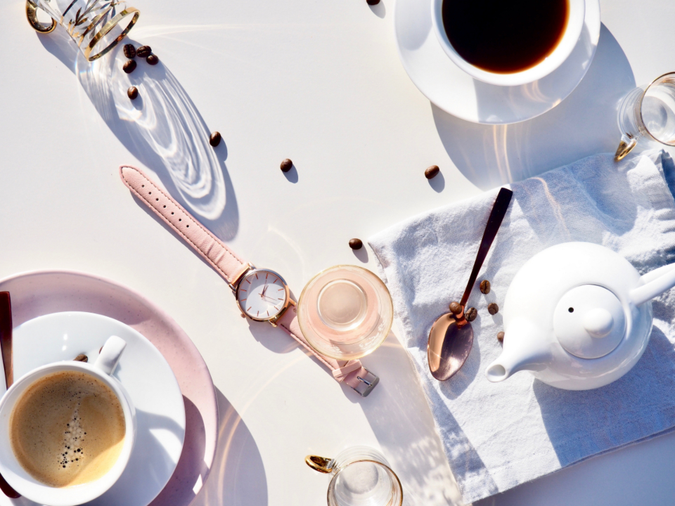 coffee table watch pink white teapot drink food spoon reflection espresso fresh black coffee