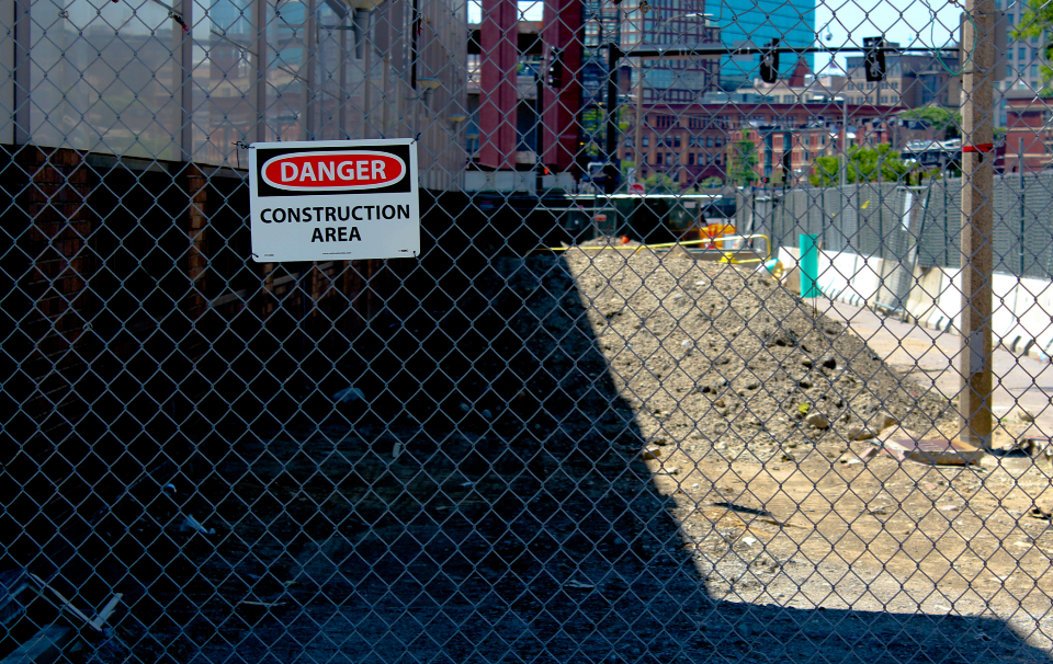 danger fence construction site sign safety area urban city alert mesh chainlink barrier dirt