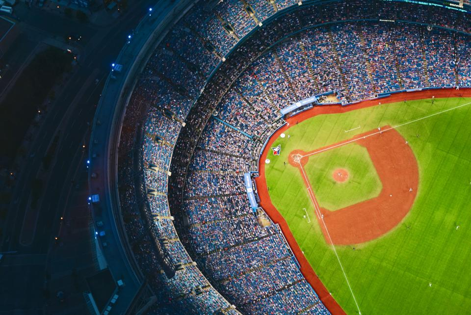 baseball stadium crowd people diamond field sports team athletes aerial view