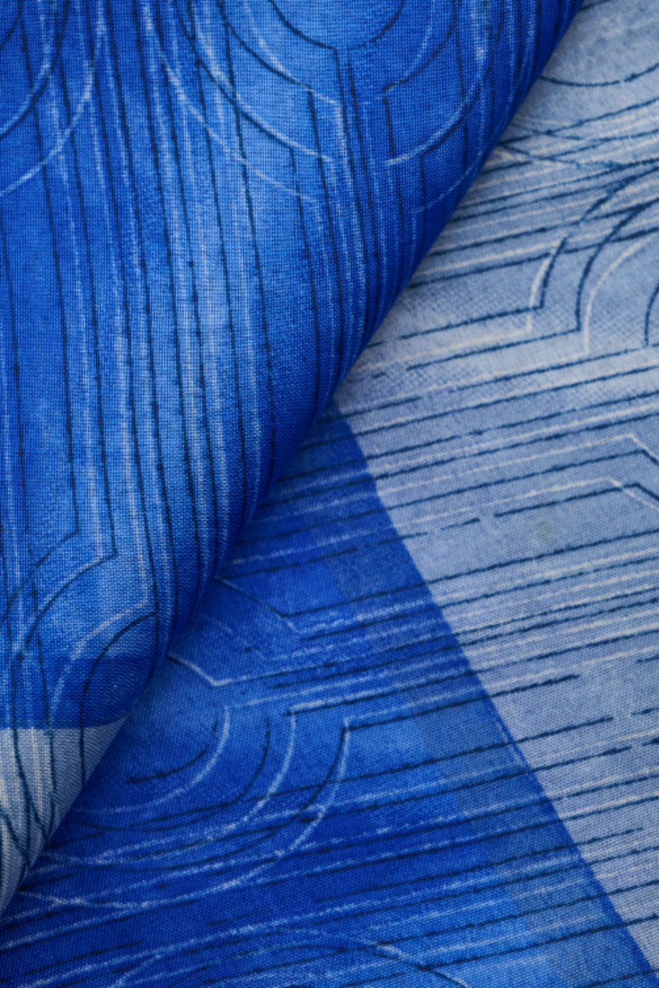 sari scarf fabric texture pattern design sewing crafts materials colorful flat lay fold cloth textile silk blue