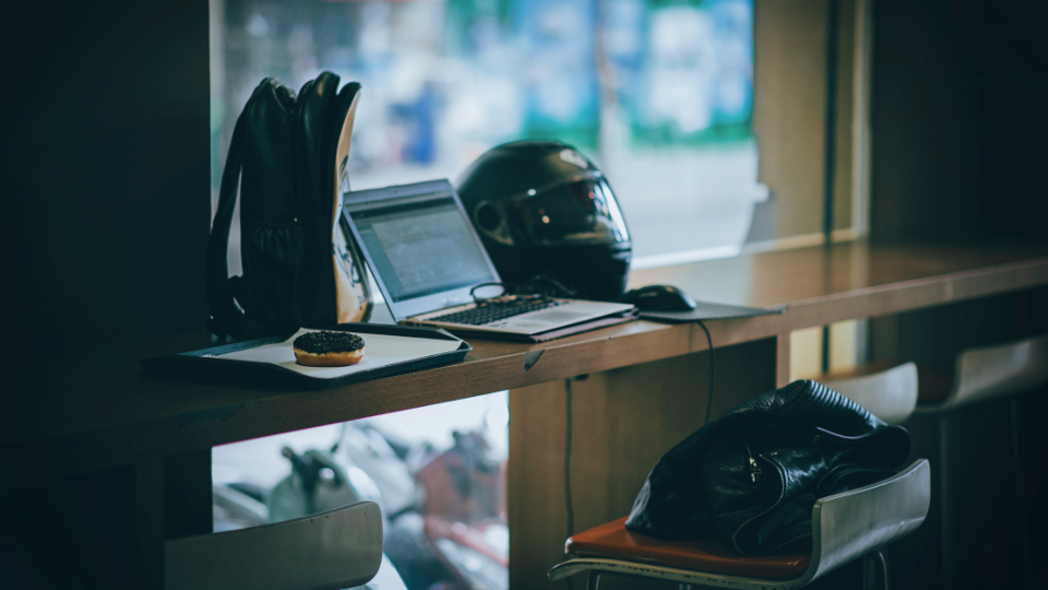 laptop motorbike helmet bags business chair computer desk monitor donut food technology window work