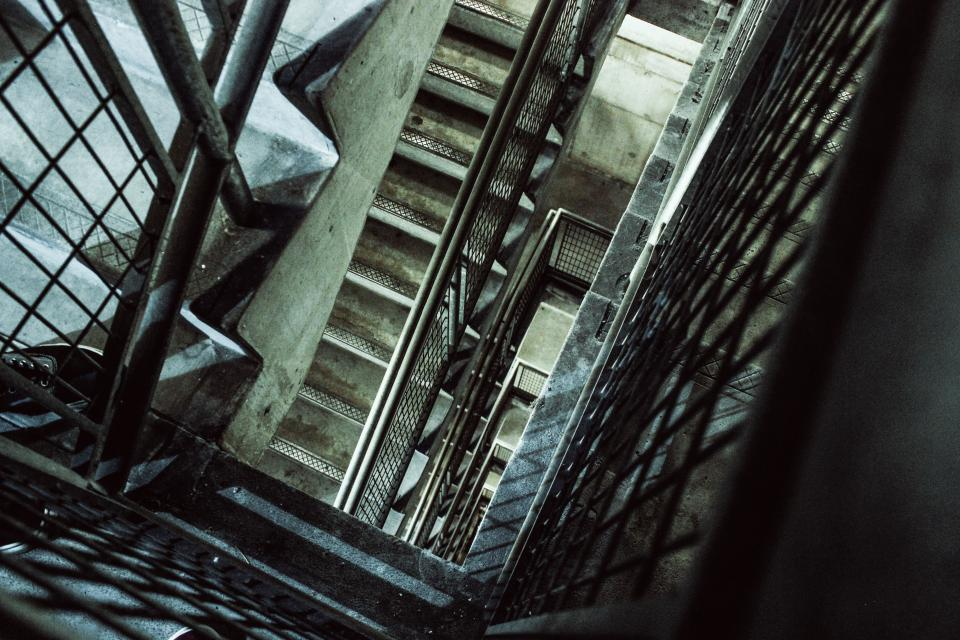 architecture building stairs steel industrial concrete lines shapes patterns perspective stairway stairwell