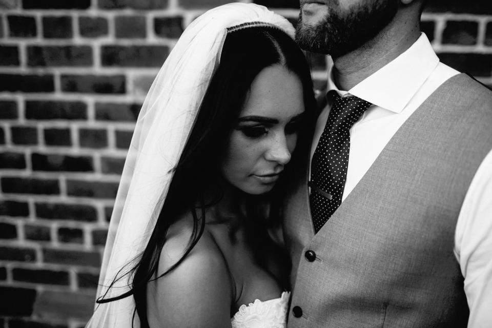 people marriage wedding couple man woman veil black and white grayscale monochrome