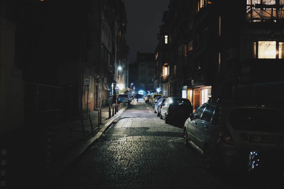 street alley night dark urban town city road asphalt cars parked lanterns lights illumination exterior night lights cars